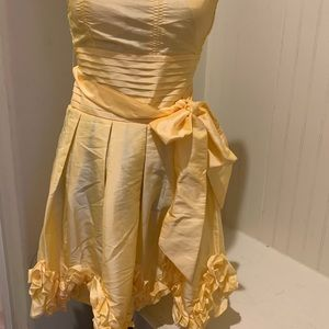 Yellow Strapless summer dress